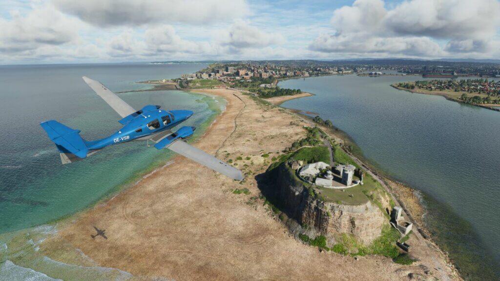 DA62 over an island