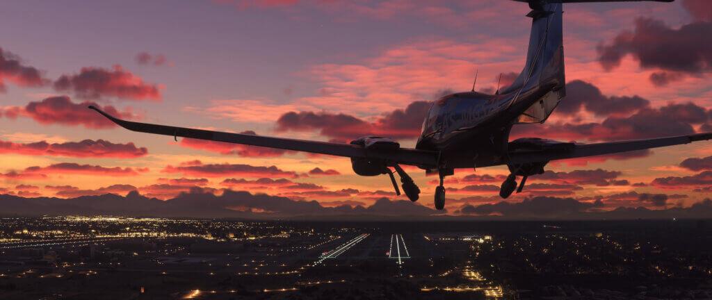 Plane landing during sunset
