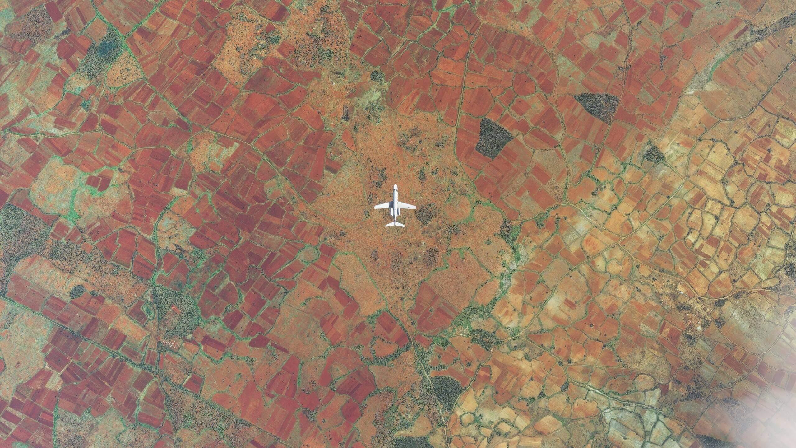 Plane flying over Madagascar