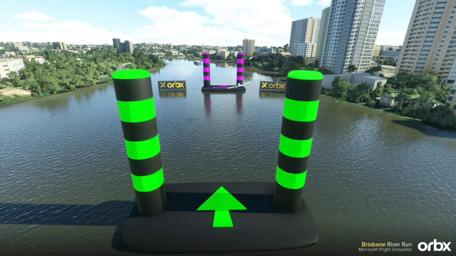 Pylons sitting on the brisane river
