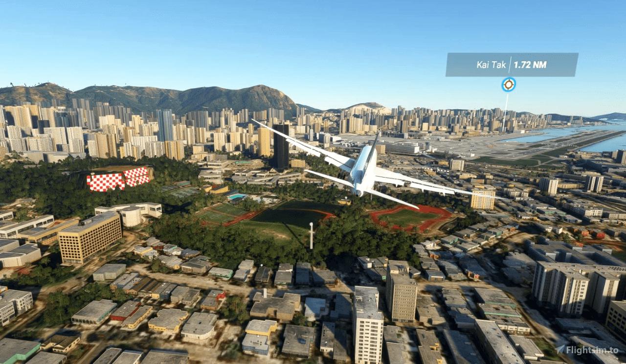 Plane flying over Kai Tai Airport