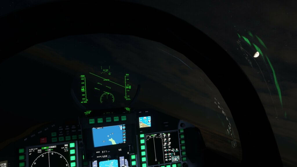 Inside a cockpit during night time